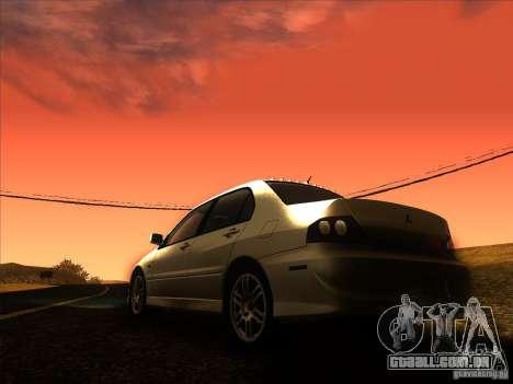 Mitsubishi Lancer Evolution IX MR para GTA San Andreas vista inferior