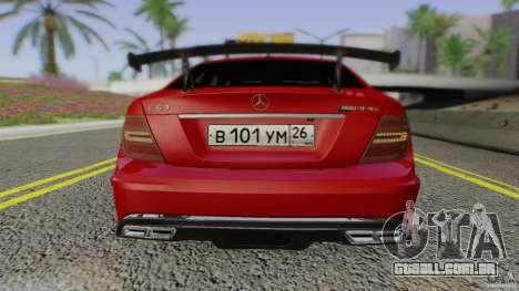 Mercedes Benz C63 AMG Black Series 2012 para GTA San Andreas vista superior
