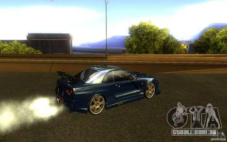 Nissan Skyline GTR R34 para GTA San Andreas vista direita