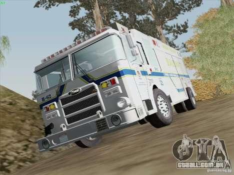 Pierce Fire Rescues. Bone County Hazmat para GTA San Andreas vista inferior