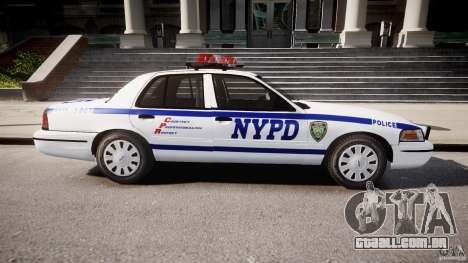 Ford Crown Victoria Police Department 2008 NYPD para GTA 4 esquerda vista