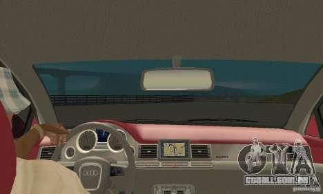 Audi A8L 4.2 FSI para GTA San Andreas vista interior