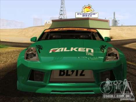Nissan 350Z Falken Tire para GTA San Andreas traseira esquerda vista