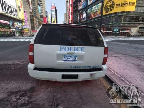 Chevrolet Tahoe Homeland Security para GTA 4 traseira esquerda vista