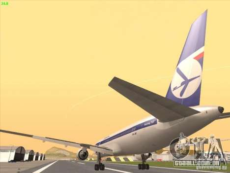 Boeing 767-300 LOT Polish Airlines para GTA San Andreas vista interior
