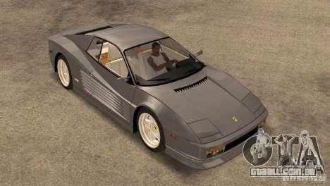Ferarri Testarossa 1991 para GTA San Andreas traseira esquerda vista