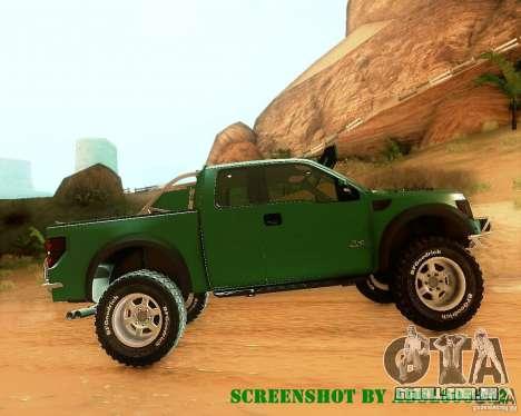 Ford F150 2011 SVT RapTor para GTA San Andreas vista superior