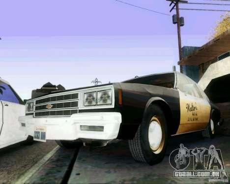 Chevrolet Impala 1986 Taxi Cab para GTA San Andreas vista direita