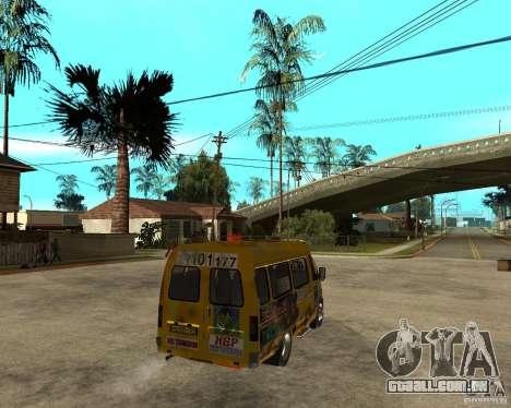 Gaz gazela 2705 Minibus para GTA San Andreas traseira esquerda vista