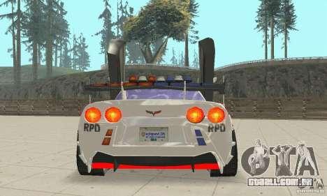Chevrolet Corvette C6 polícia Sargento Cruz NFSM para GTA San Andreas vista interior