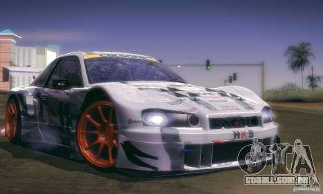 Nissan Skyline Touring R34 Blitz para GTA San Andreas traseira esquerda vista