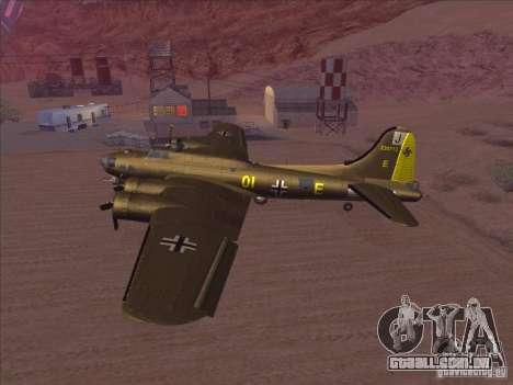 B-17G Flying Fortress para GTA San Andreas traseira esquerda vista