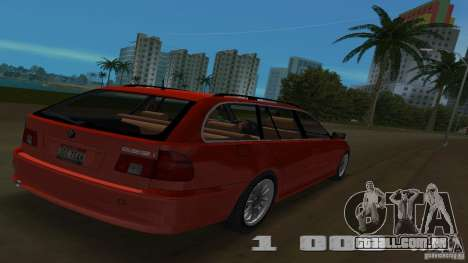 BMW 5S Touring E39 para GTA Vice City vista traseira