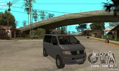 Volkswagen Transporter T5 TDI para GTA San Andreas vista traseira