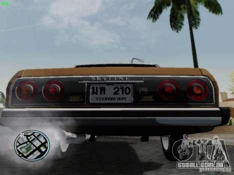 Nissan Skyline 2000GT C210 para GTA San Andreas vista traseira