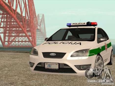 Ford Focus ST Policija para GTA San Andreas vista traseira
