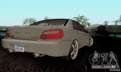 Subaru Impreza WRX STi TUNEABLE para GTA San Andreas traseira esquerda vista