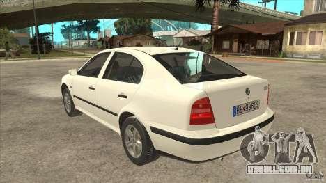 Skoda Octavia 1997 para GTA San Andreas traseira esquerda vista