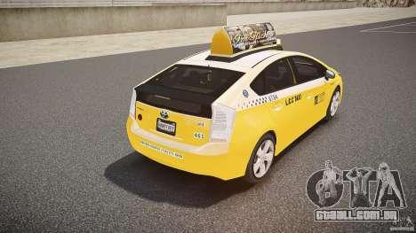 Toyota Prius LCC Taxi 2011 para GTA 4 vista inferior
