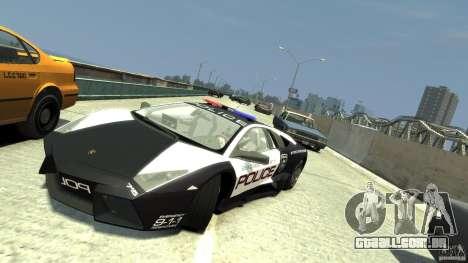 Lamborghini Reventon Police Hot Pursuit para GTA 4 vista de volta