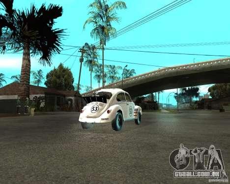 Volkswagen Beetle Herby para GTA San Andreas traseira esquerda vista