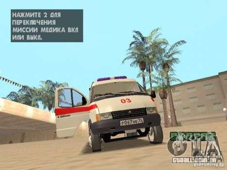 Ambulância de gazela 2705 para GTA San Andreas vista interior