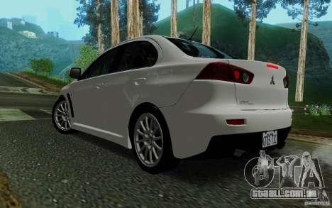 Mitsubishi Lancer Evolution X Tunable para GTA San Andreas esquerda vista
