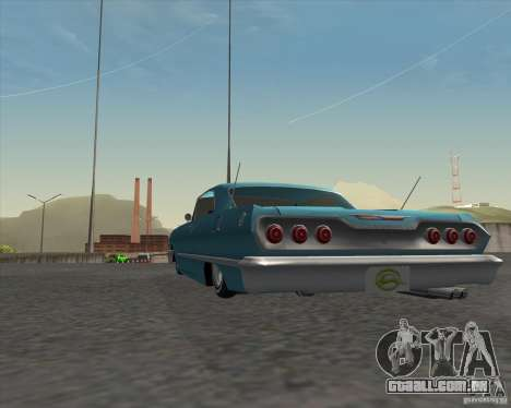 Chevrolet Impala 1963 lowrider para GTA San Andreas vista traseira