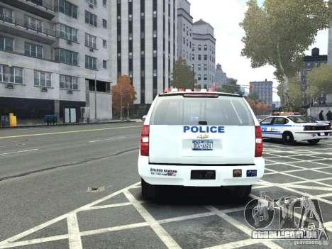 Chevrolet Tahoe NYCPD para GTA 4 vista de volta