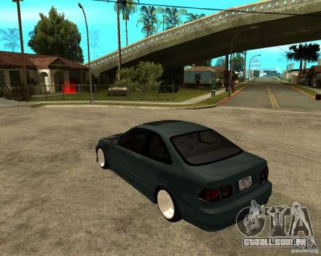 Honda Civic Coupe V-Tech para GTA San Andreas traseira esquerda vista