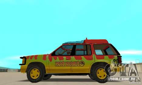 Ford Explorer (Jurassic Park) para GTA San Andreas esquerda vista