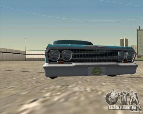 Chevrolet Impala 1963 lowrider para GTA San Andreas vista interior