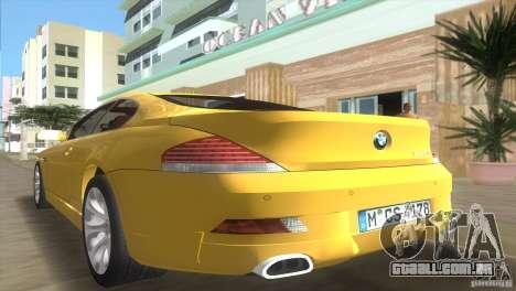 BMW 645Ci para GTA Vice City vista interior