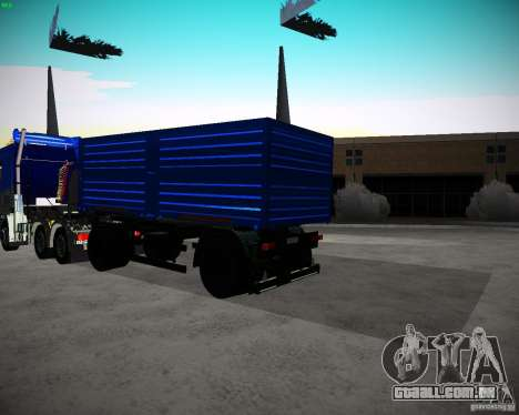 Reboque Kamaz 65117 grão para GTA San Andreas traseira esquerda vista