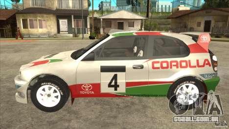 Toyota Corolla 1999 Rally Champion para GTA San Andreas vista direita