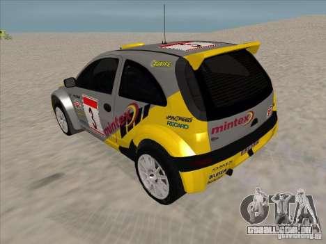 Opel Rally Car para GTA San Andreas traseira esquerda vista