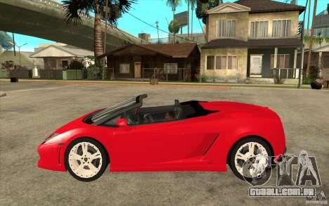 Lamborghini Gallardo LP560 Spider para GTA San Andreas esquerda vista