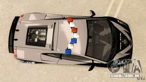 Lamborghini Gallardo Police para GTA Vice City vista direita