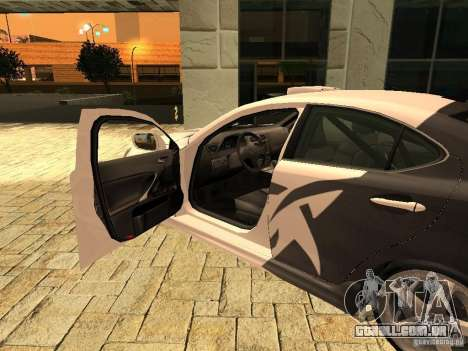 Lexus IS 350 para GTA San Andreas traseira esquerda vista