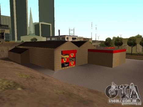 A garagem da Ferrari em Dorothy para GTA San Andreas quinto tela