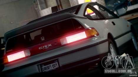 Honda CR-X SiR 1991 para GTA 4 vista direita
