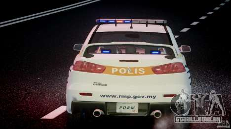 Mitsubishi Evolution X Police Car [ELS] para GTA 4 motor