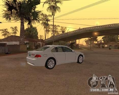 BMW 760I 2002 para GTA San Andreas traseira esquerda vista