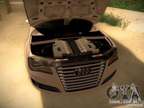 Audi A8 2010 para vista lateral GTA San Andreas