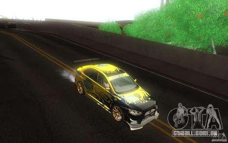 Mitsubishi Lancer Evolution X Gymkhana para GTA San Andreas vista interior