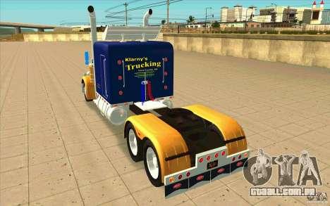 Peterbilt 359 Custom para GTA San Andreas traseira esquerda vista