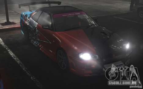 Nissan Skyline R34 Evil Empire para GTA 4 traseira esquerda vista