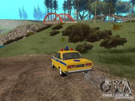 INSPEÇÃO DE CARRO VAZ 2107 para GTA San Andreas traseira esquerda vista