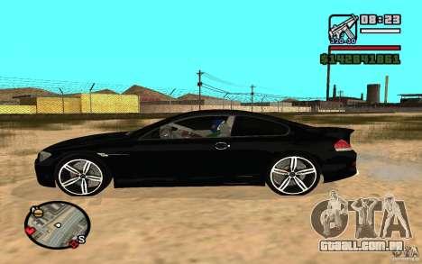 BMW M6 2006 para GTA San Andreas traseira esquerda vista