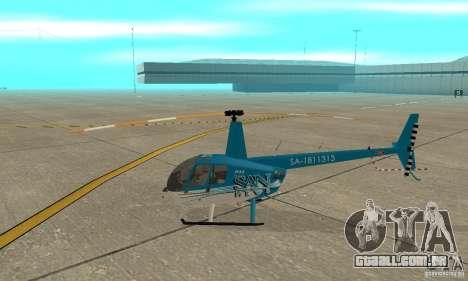 Robinson R44 Raven II NC 1.0 TV para GTA San Andreas traseira esquerda vista